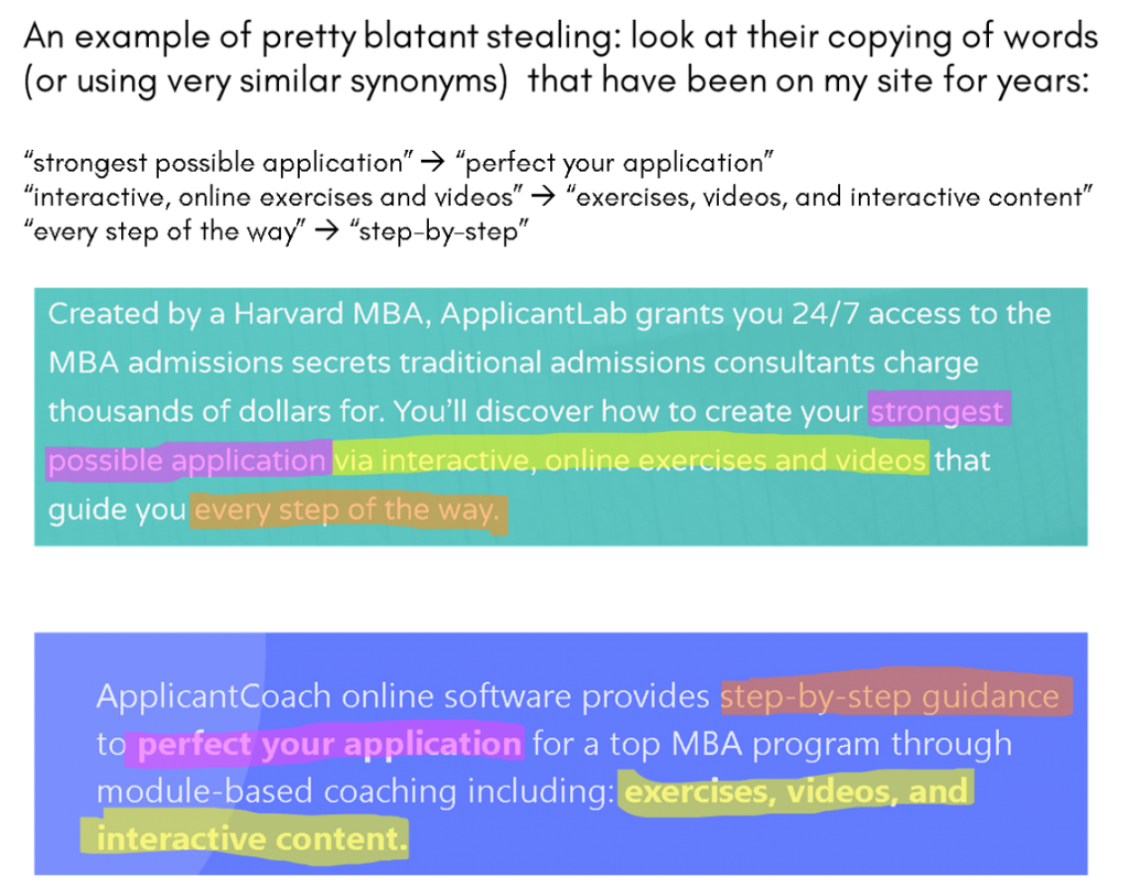 MBAApplicantCoach ApplicantCoach unethical stealing copying ApplicantLab a fake rip-off